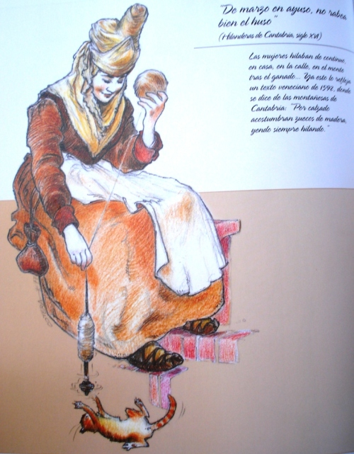 """Hilandera del XVI. Ilustración del libro """"La Cantabria de Gustavo Cotera"""", Ed. Valnera, 2005."""